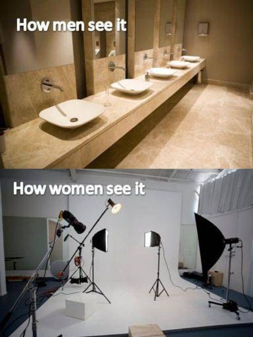 how men women see it bathroom mirror studio photoshoot